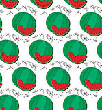 Watermelon and slice pattern Royalty Free Stock Images