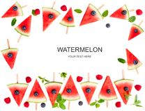 Watermelon slice  popsicles frame isolated on white background. Royalty Free Stock Images