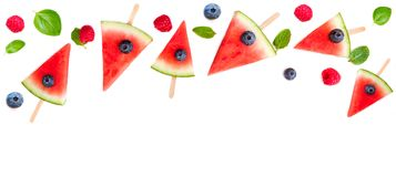 Watermelon slice  popsicles frame isolated on white background. Stock Photography