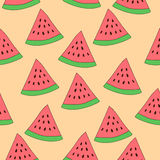 Watermelon slice seamless pattern. Repeated vector texture background Royalty Free Stock Image