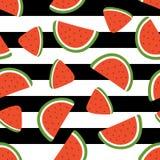 Watermelon slice seamless pattern on striped background. Vector illustration Stock Image