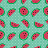 Watermelon slice seamless pattern. Royalty Free Stock Photo