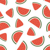 Watermelon slice seamless pattern on white background. Vector illustration Stock Images