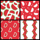 Watermelon Slice Seamless Patterns Set Royalty Free Stock Image