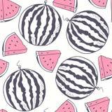 Watermelon with slice stylized seamless pattern Royalty Free Stock Photos