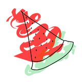 Watermelon slice - summer fruit vector Royalty Free Stock Photography