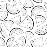 Watermelon slice vector seamless pattern. Isolated hand drawn be vector illustration