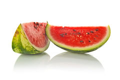 Watermelon Slice on White Background Stock Photos