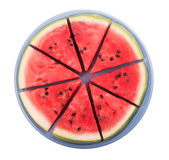 Watermelon sliced, on a blue plate Stock Image