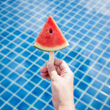 Watermelon sliced in hand, Summer Holiday Concept background Stock Images