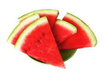 Watermelon slices. Five watermelon slices on the plate royalty free stock images