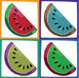 Watermelon slices. Different colour illustration of the watermelon slices stock illustration