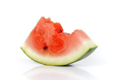 Watermelon slices with bite marks,Fruit for summer isolated on w Royalty Free Stock Photo