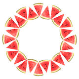 Watermelon slices in a circle, isolated Stock Photos