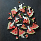 Watermelon slices with cottage cheese Stock Photo