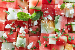 Watermelon slices with cottage cheese Royalty Free Stock Photo