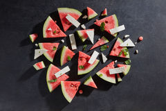 Watermelon slices with cottage cheese Stock Photos