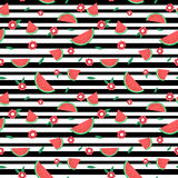Watermelon slices and flowers on black lines seamless pattern Stock Photo