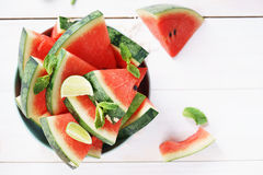 Watermelon. Slices of fresh watermelon on white Royalty Free Stock Image