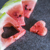 Watermelon slices with heart shape Royalty Free Stock Photo