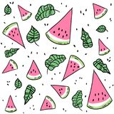 Watermelon slices and leaves seamless pattern stock illustration