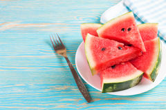 Watermelon slices on the plate Stock Image