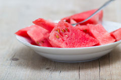 Watermelon slices in a plate Royalty Free Stock Photos