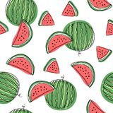 Watermelon slices seamless pattern. Hand draw vector illustration on isolated white background vector illustration