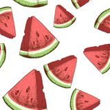 Watermelon slices seamless pattern. Hand drawn sketch style ripe summer fruits vector illustration. Ideal for party designs, fruit. Markets and  vegan menu Stock Images