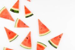 Slices of fresh red watermelon with seamless pattern isolated shot. royalty free stock photos