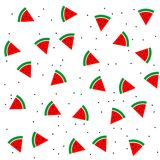 Watermelon slices and seeds seamless pattern background Royalty Free Stock Images