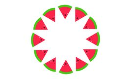 Watermelon Slices Spiral Isolated Background royalty free illustration