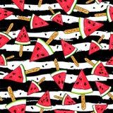 Watermelon slices on a stick Stock Photos