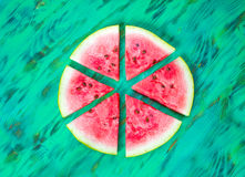 Watermelon slices. View from above. Watermelon slices  on green wooden background. View from above Stock Photography