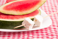 Watermelon slices & White cheese on plate Royalty Free Stock Photos