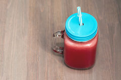 Watermelon smoothie in a mason jar Stock Image