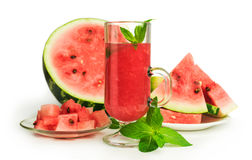 Watermelon smoothie with mint and fresh fruit Stock Photo