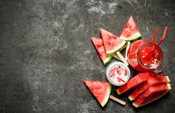 Watermelon smoothies and juice with pulp. Royalty Free Stock Photography
