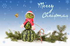 watermelon Snowman  in red hat and scarf with candy cane on blue background and falling snowflakes. Royalty Free Stock Photography