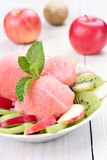 Watermelon sorbet and fruits in bowl Stock Image