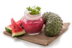 Watermelon and soursop mix smoothie Stock Photo