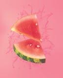 Watermelon splashing in liquid Royalty Free Stock Photo