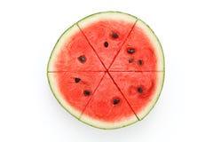 Watermelon split slide yummy fresh summer fruit sweet dessert. White background Stock Image