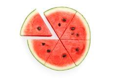 Watermelon split slide yummy fresh summer fruit sweet dessert. White background Stock Photos