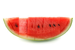 Watermelon split slide yummy fresh summer fruit sweet dessert. White background Royalty Free Stock Photos