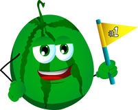 Watermelon sports fan with flag Royalty Free Stock Images