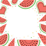 Watermelon square frame of watermelons. Vector illustration on white background Stock Image