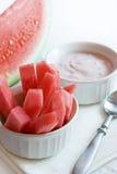 Watermelon Sticks with yogurt Stock Image