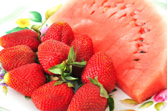 Watermelon and strawberry. Great clean fresh strawberries and watermelon Royalty Free Stock Photos