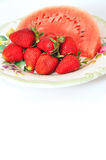 Watermelon and strawberry Royalty Free Stock Photography